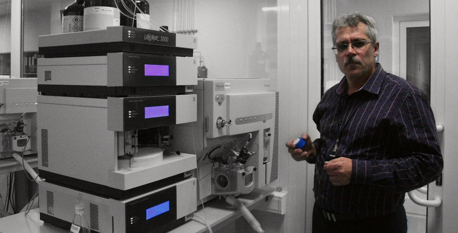 Grigorij Rodtsjenkov lever under FBI-beskyttelse i USA. Her fra dokumentaren «Icarus».