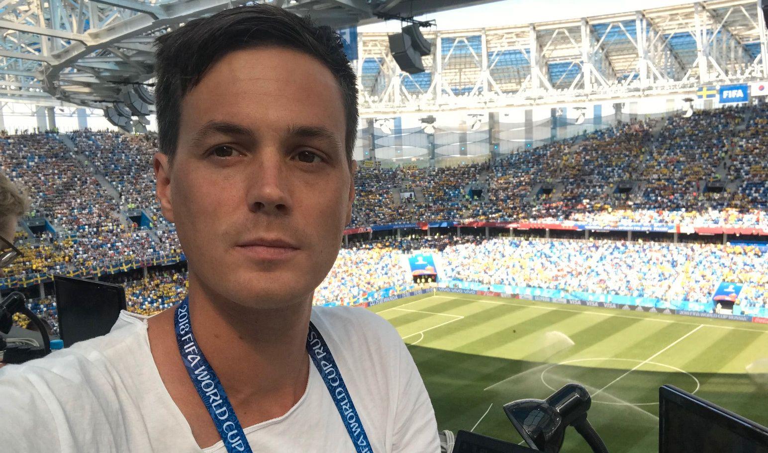 VG I RUSSLAND: Øyvind Brenne følger Sverige-Sør-Korea i Nizjnij Novgorod.