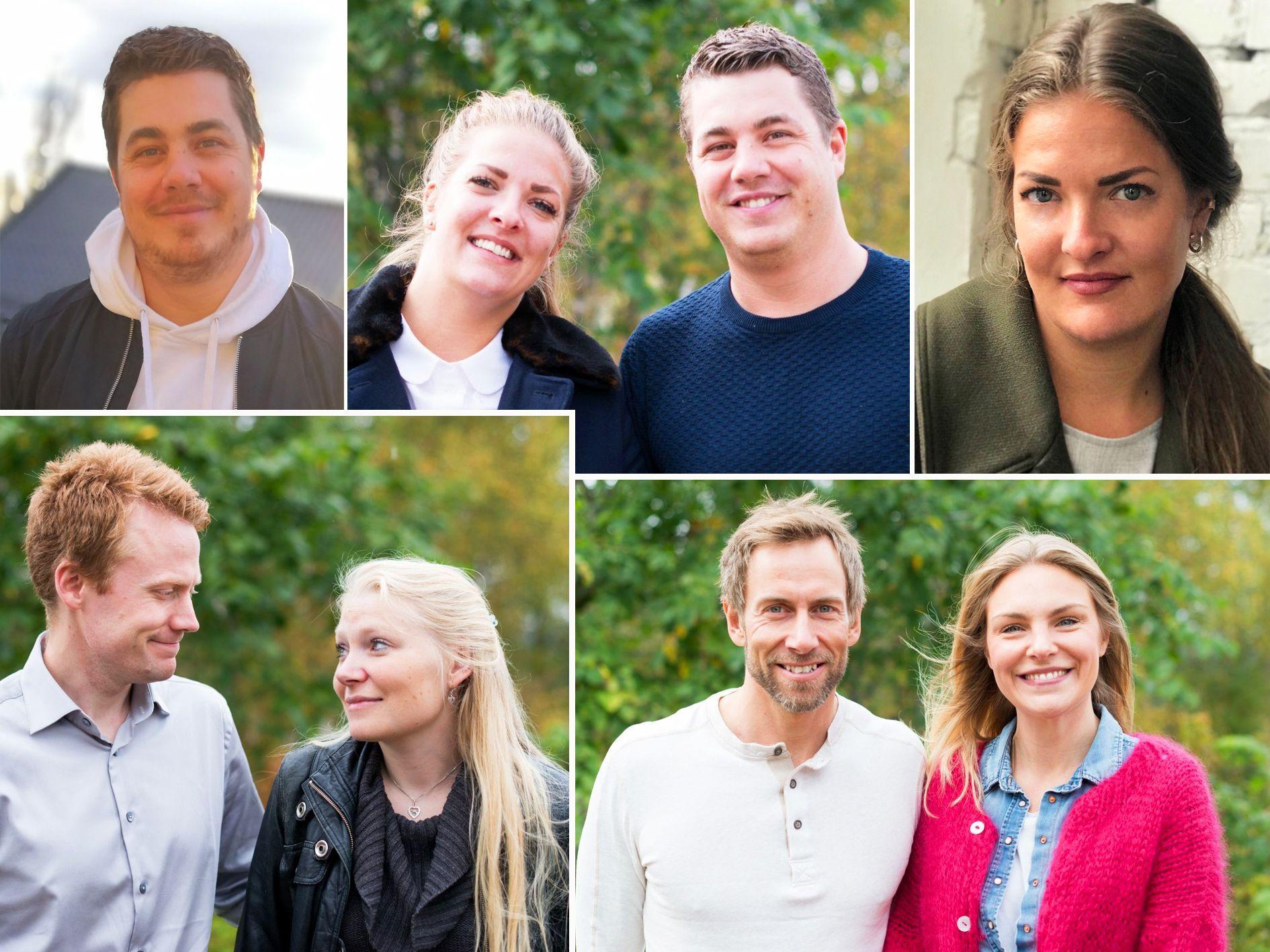 SØKER KJÆRLIGHETEN: (Fra øverst til venstre) Rune og Katarin, André og Isabel og Geir og Anna.