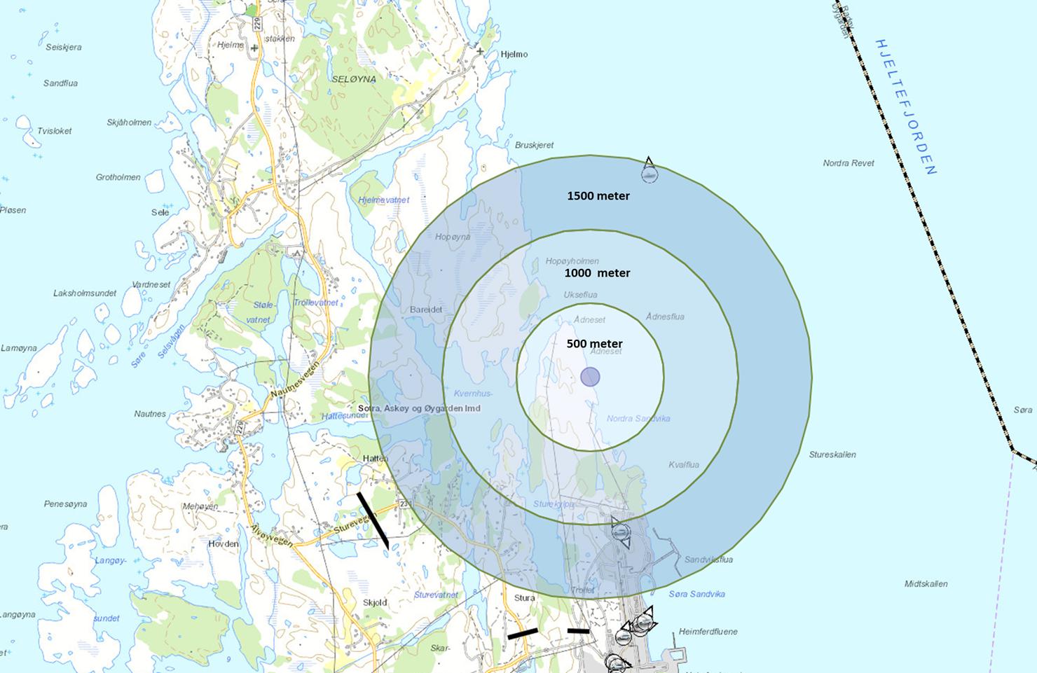FERDSELSFORBUD: Kartet viser ferdselsforbudet rundt havaristen i Øygarden.