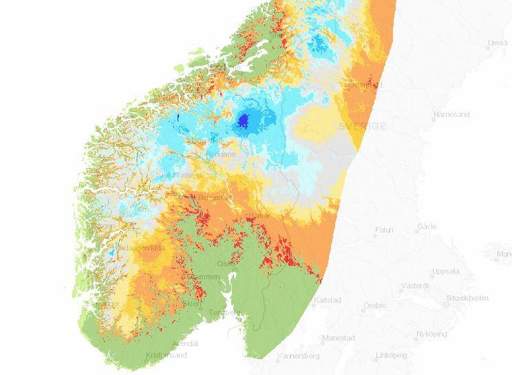 VINTEREN 2017: Grønn viser områder hvor det normalt er snø, men som nå er barmark. Også langt nord på Østlandet og på Hardangervidda er det langt under normalt snødekke.