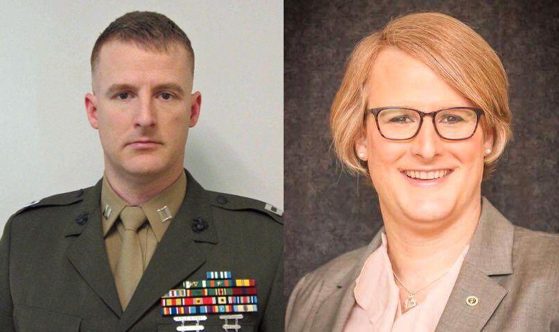 FØR OG ETTER: Emma Shinn forlot marinen i 2014, og to år senere kom hun ut som transkvinne.