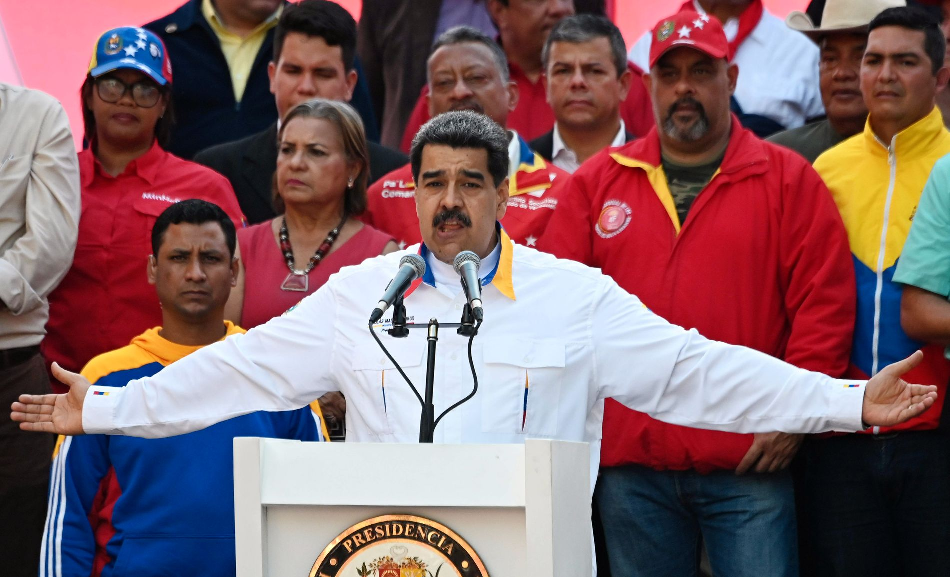 PRESIDENT: Nicolas Maduro under et folkemøte 20. mai i år.