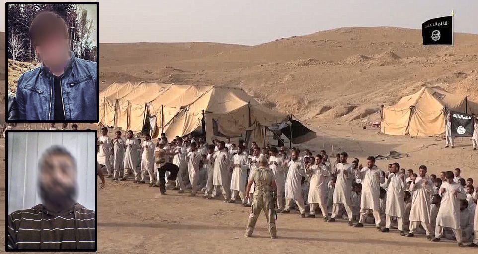 TERROR-TRENING: 23-åringen og 46-åringen (innfelt) reiste til Syria og treningsleiren alle utenlandske krigere må gjennom. Hovedbildet er fra en propaganda-video og viser en lignende treningsleir i Nord-Irak.