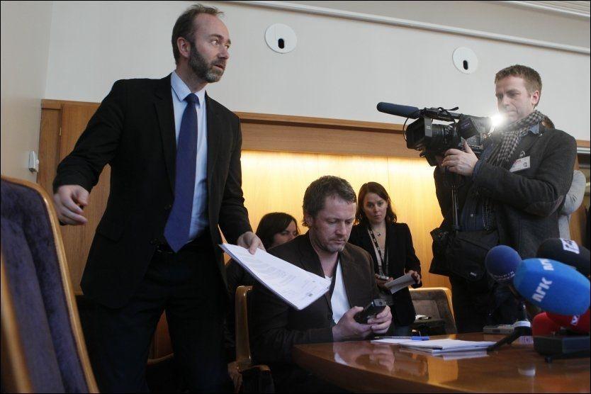STATSRÅD: Næringsminister Trond Giske på en pressekonferanse om Altinn onsdag denne uken. Foto: Scanpix