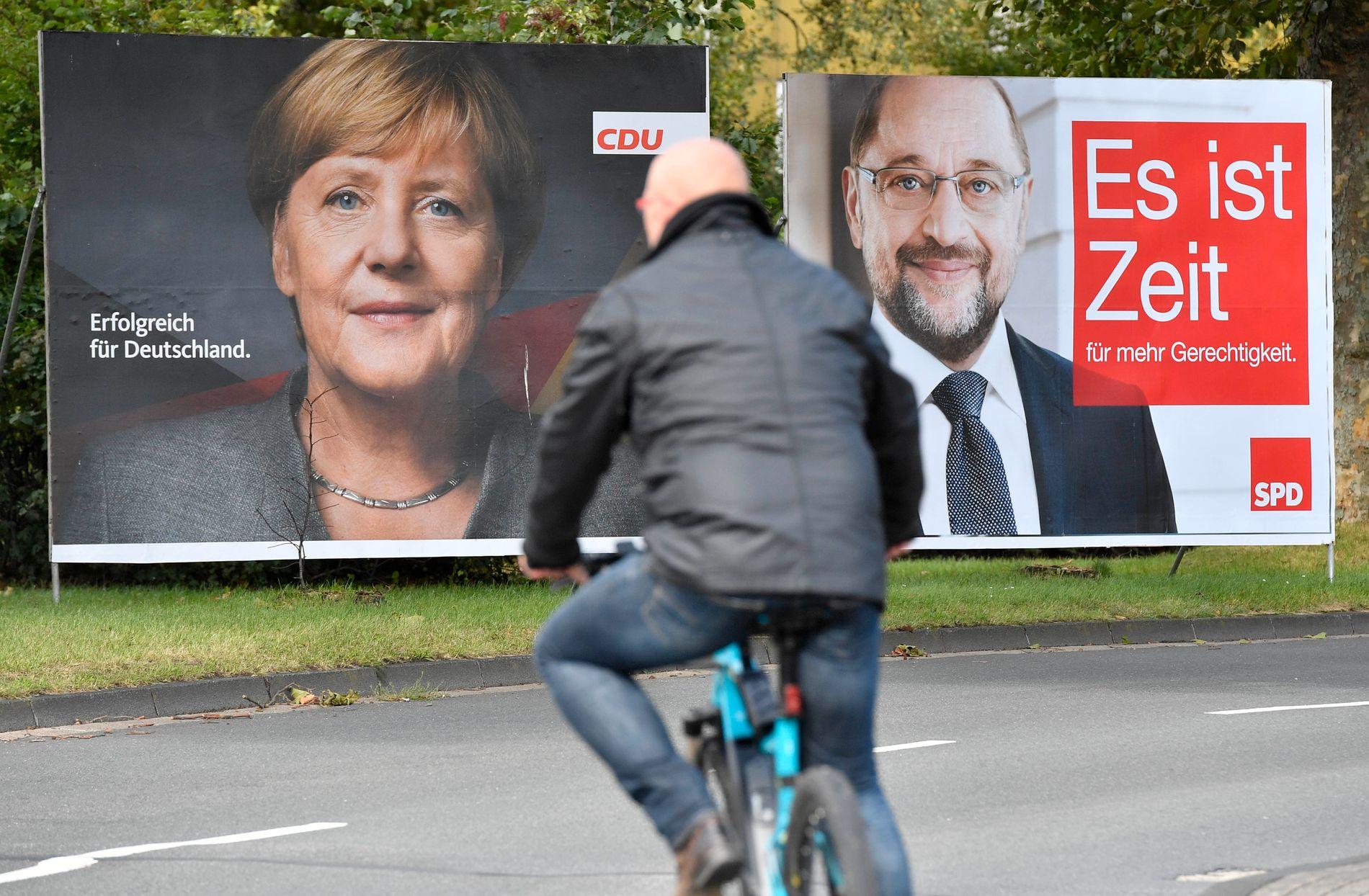 Forbundskansler Angela Merkel og hennes sosialdemokratiske utfordrer Martin Schulz vil begge styrke EU, internasjonalt samarbeid og handel.