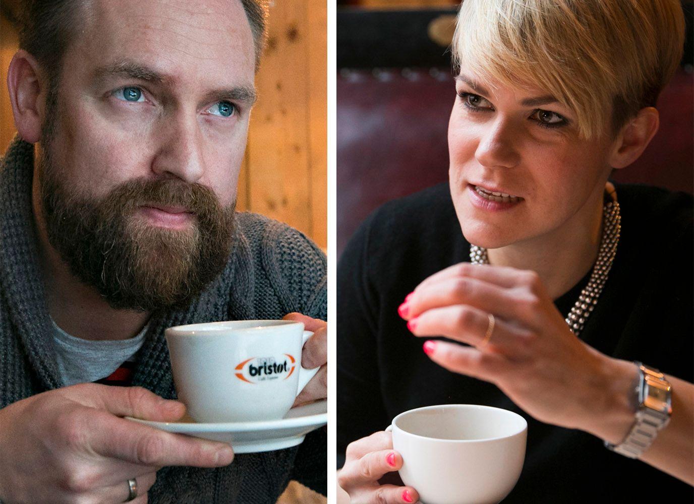 IKKE HVERANDRES KOPP TE: Komikerne Ørjan Burøe og Sigrid Bonde Tusvik.