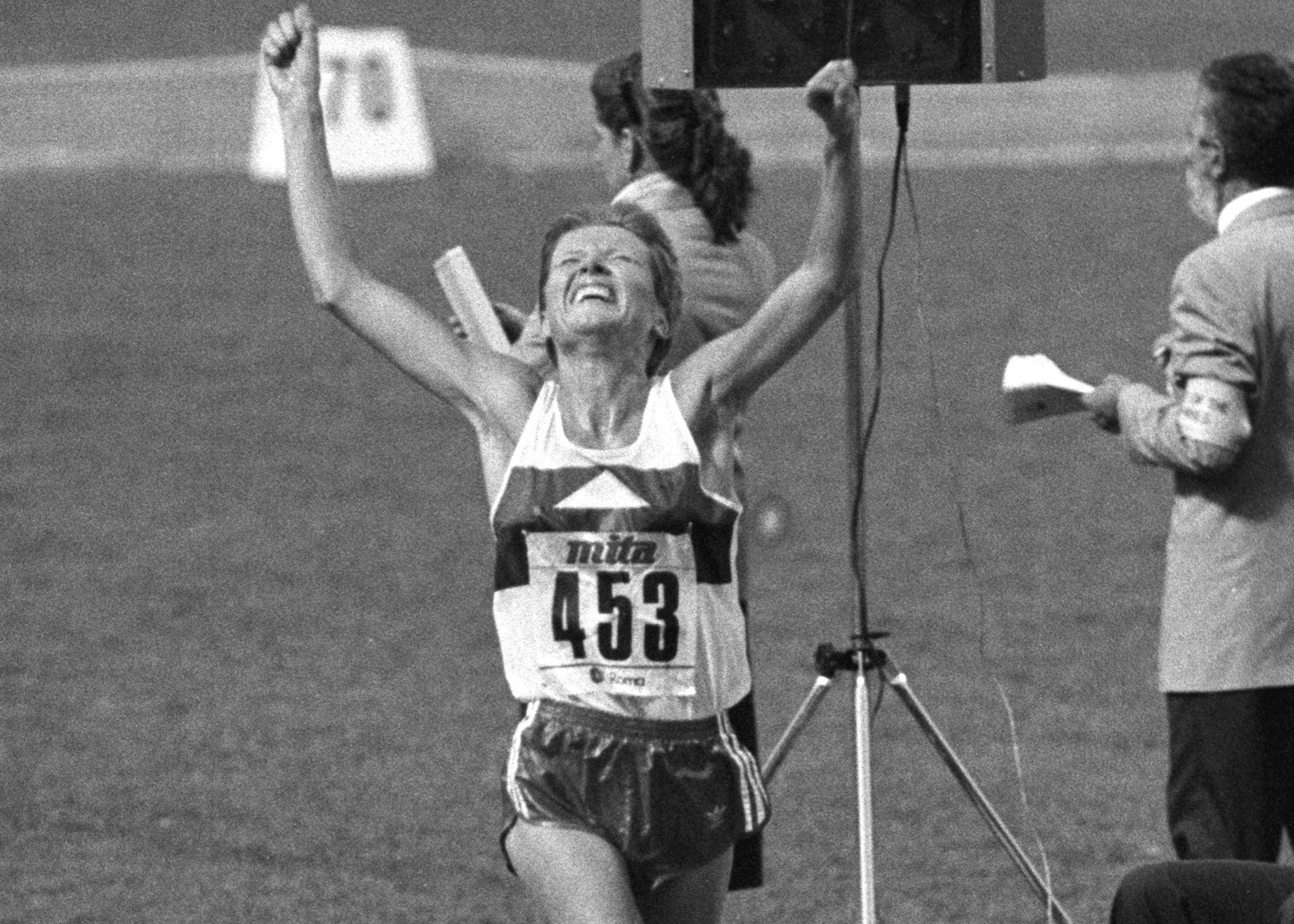 VERDENSMESTER: Ingrid Kristiansen under VM i Roma i 1987.