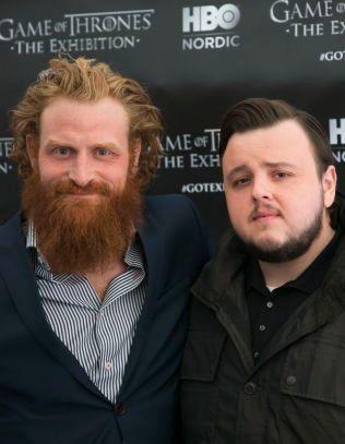 SAMWELL: John Bradley (t.h.) spiller karakteren Samwell Tarly. Her sammen med norske Kristoffer Hivju som også har en rolle i «Game of Thrones».