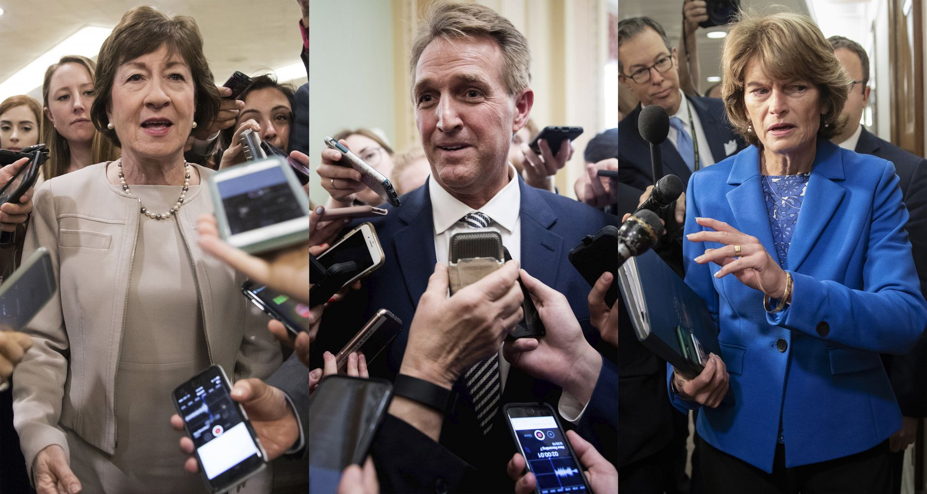 REPUBLIKANERE: Senatorene Susan Collins, Jeff Flake og Lisa Murkowski har alles øyner mot seg.