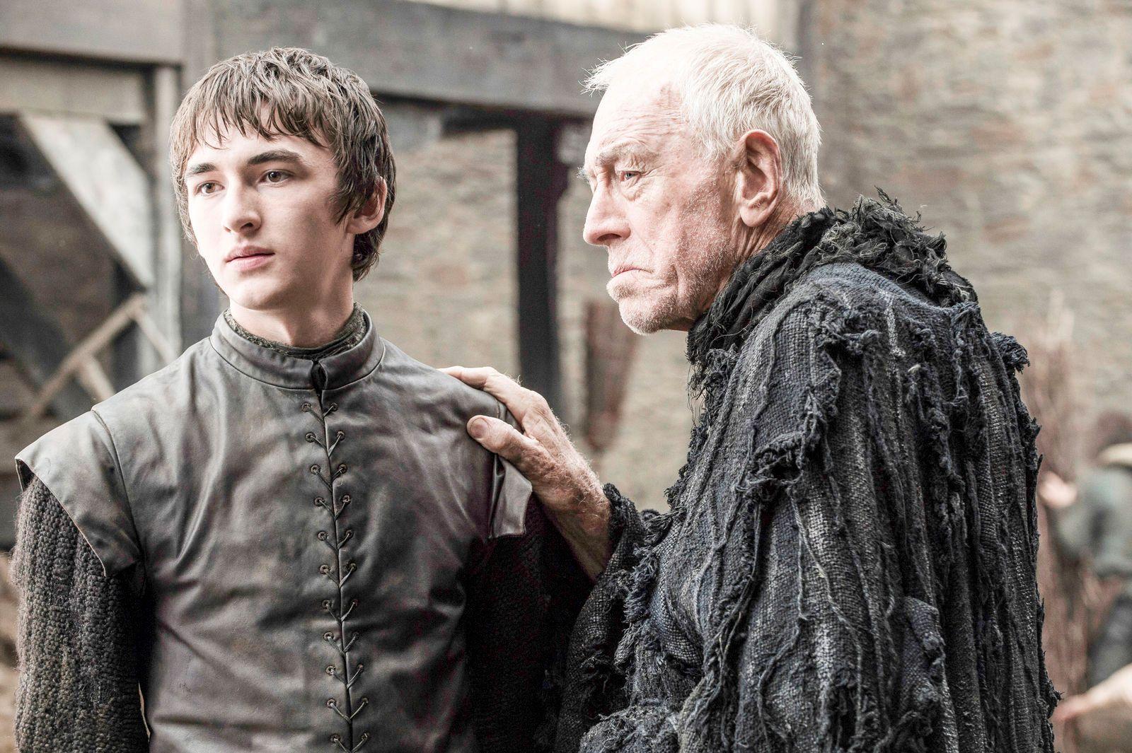 BLIR Å SE: Isaac Hempstead Wright som Bran Stark og Max von Sydow som Three-Eyed i en drømmesekvens.