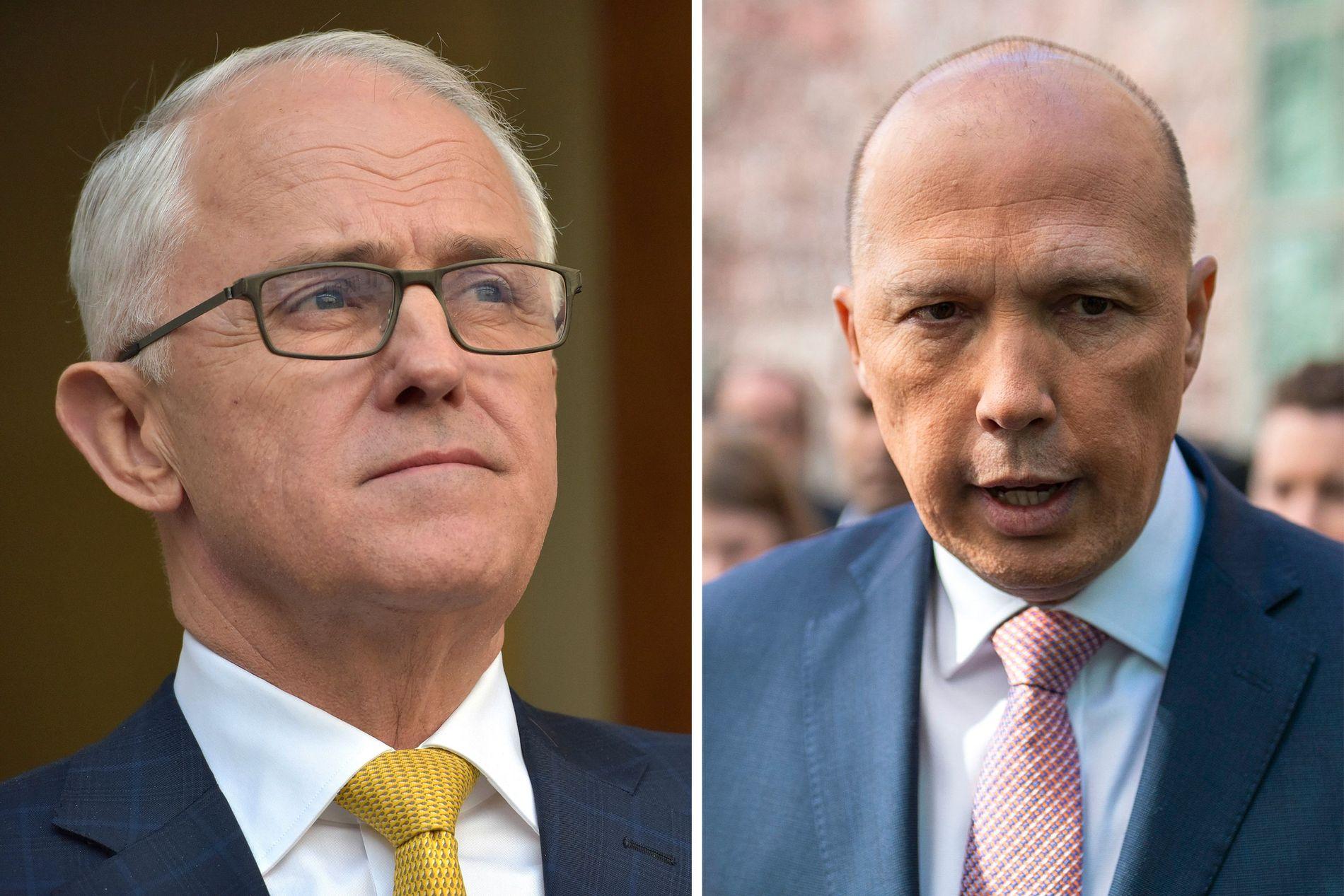 MAKTKAMP: F.v. Australias statsminister Malcolm Turnbull og til høyre fratredende innneriksminister Peter Dutton.