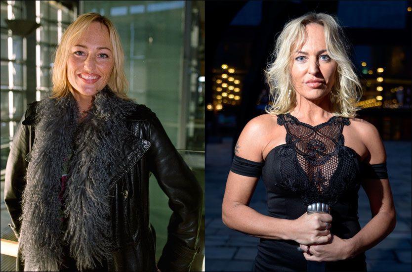 SNART FEMTI: Maybritt Dale er fortsatt den samme 15 år etter «Villa Medusa» gikk på TV Norge (t.v). Bildet til høyre ble tatt under pressevisningen av «Den siste viking» Foto: Robert Eik