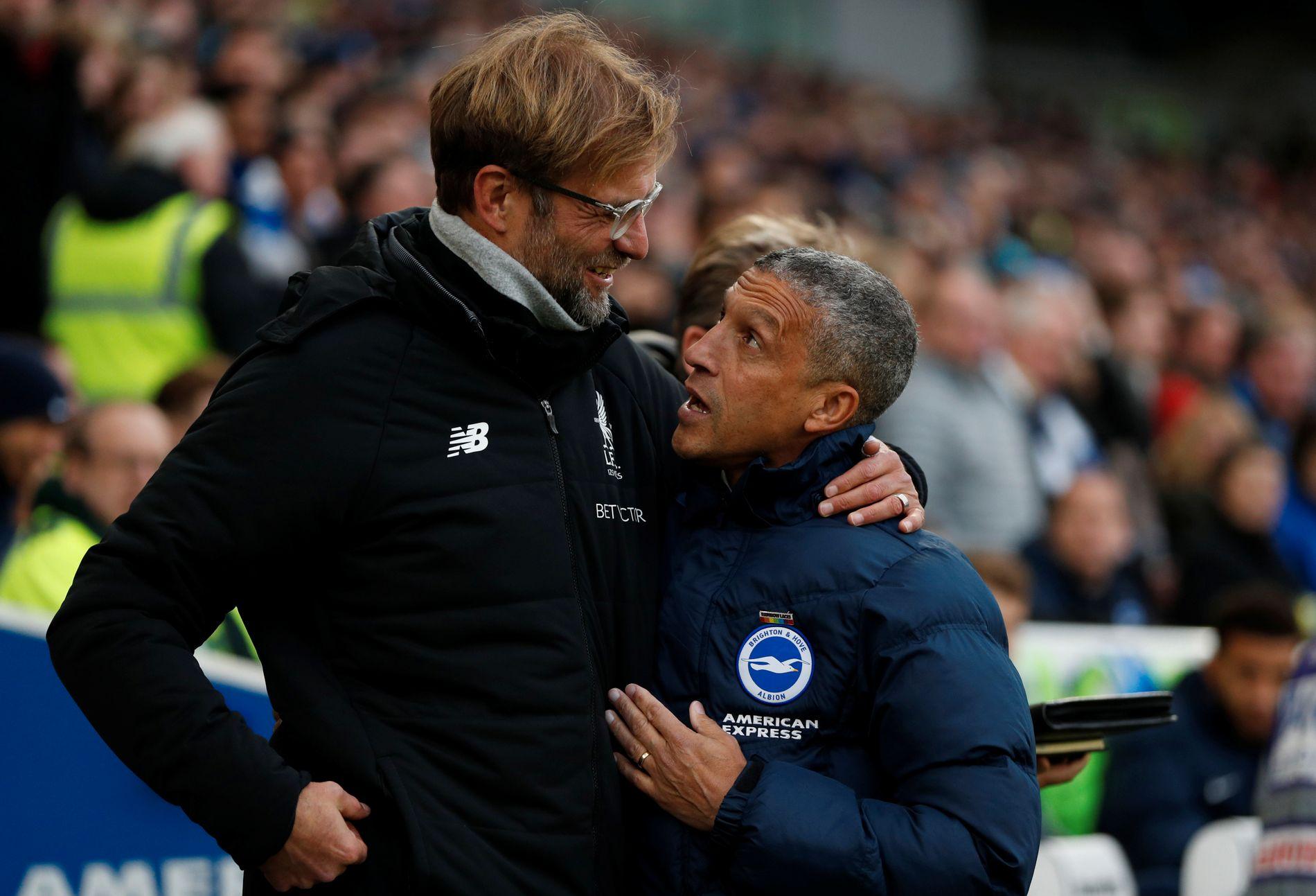IRRITERENDE: Jürgen Klopp klarte å hisse på seg Brighton-manager Chris Hugghton forrige helg.