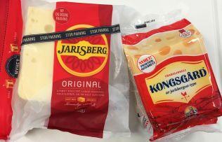 KONKURRENT: T.v. Jarlsberg Original som har vært på markedet i 60 år, t.h. utfordreren Kongsgård.