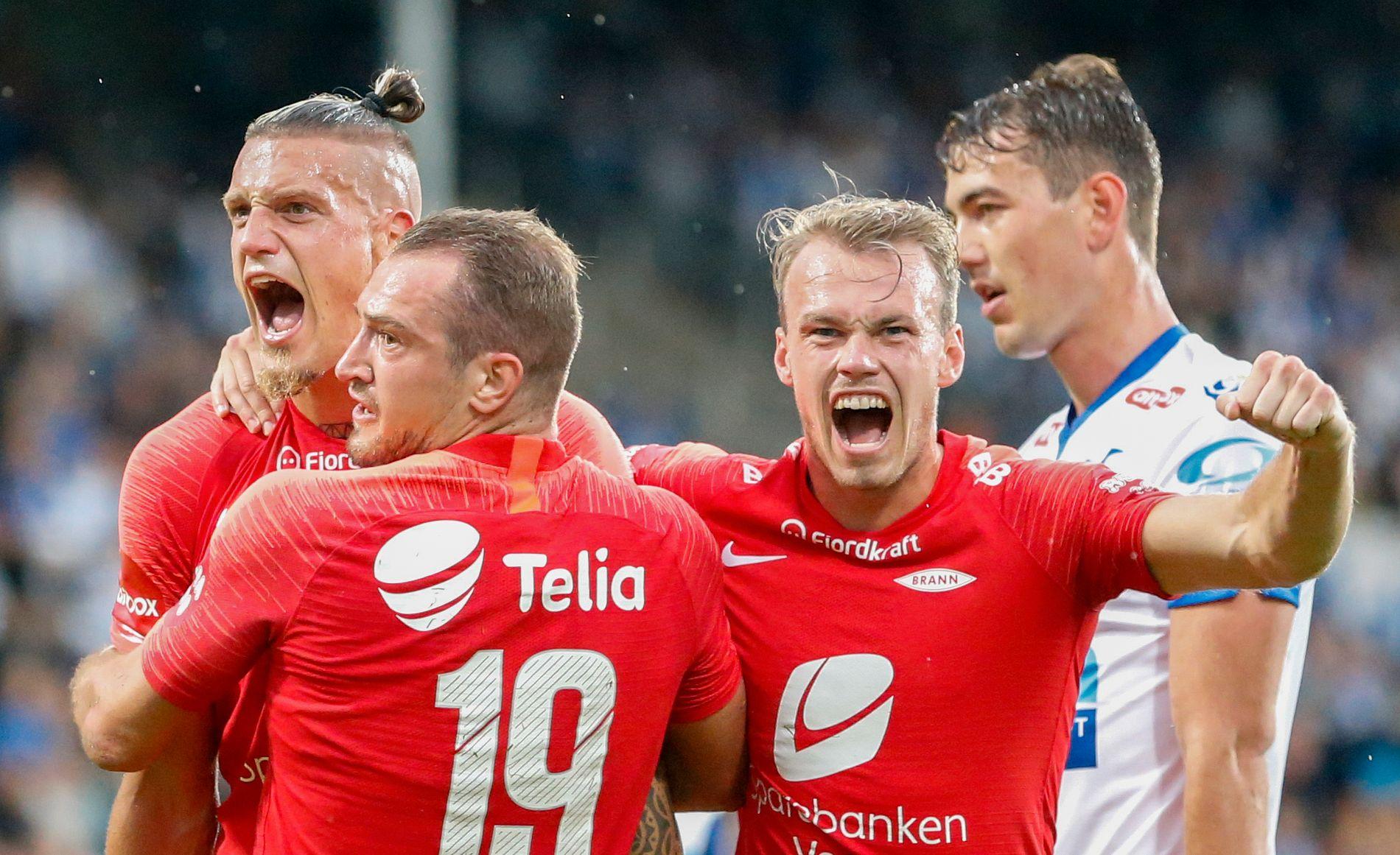 GLEDE: Brann jublet for scoring mot Haugesund, men det endte 1–1. Begge lagene får tøff motstand på vei mot Europa League-gruppespillet.