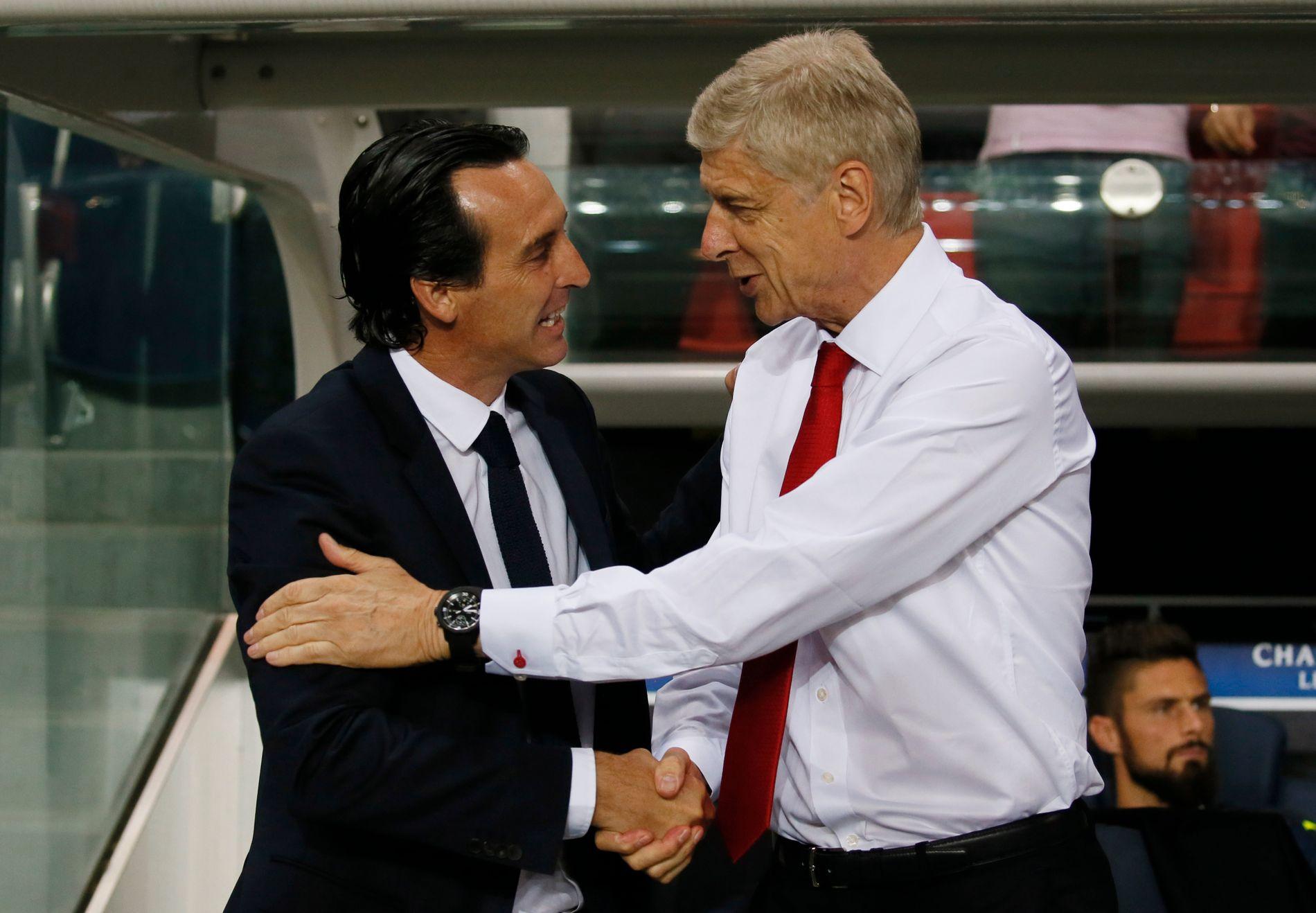 ETTERFØLGER: Unai Emery og Arsène  Wenger fotografert da Paris Saint-Germain og Arsenal spilte Champions League-kamp i september 2016.