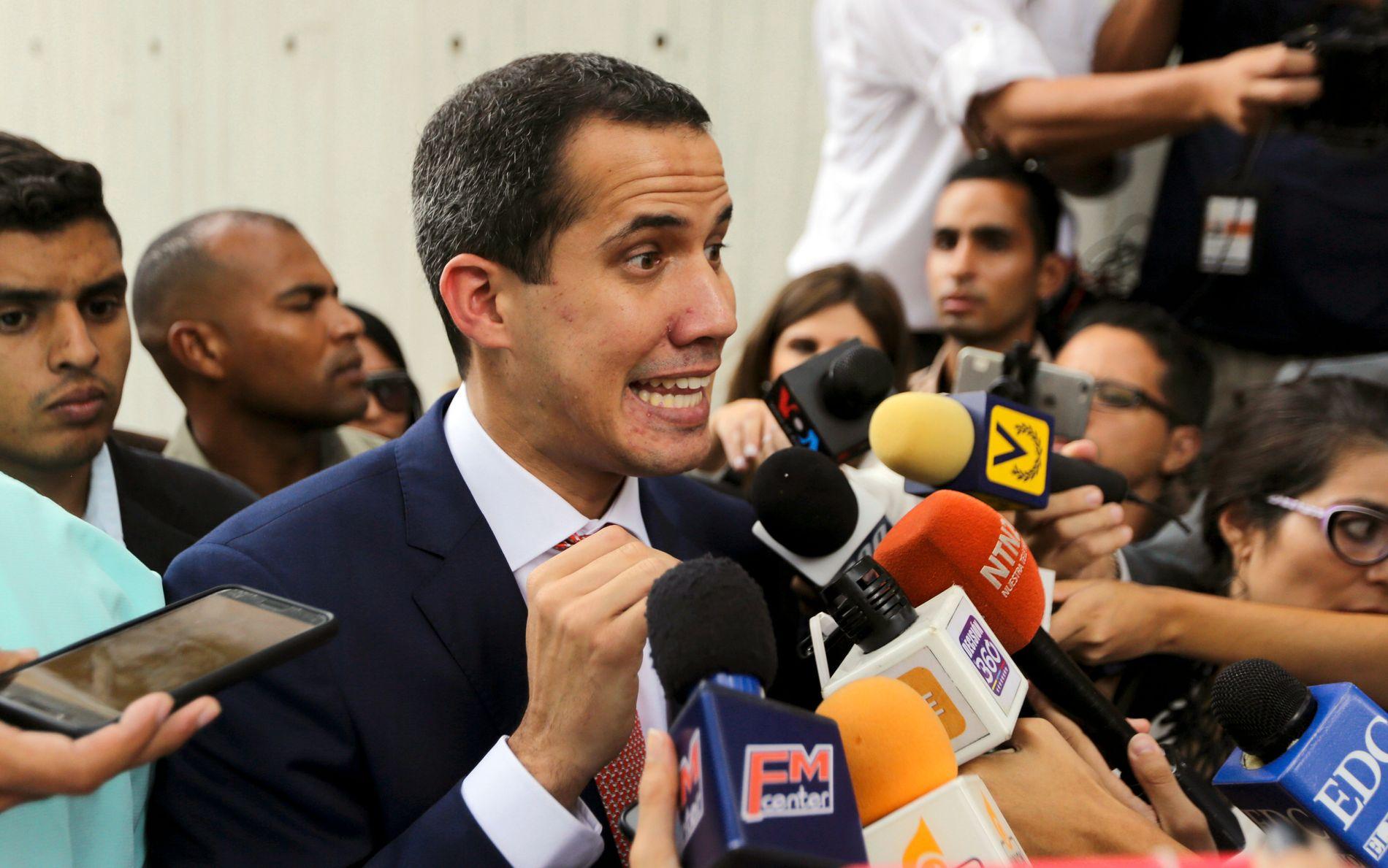 OPPOSISJONSLEDER: Juan Guaidó bekrefter at opposisjonen vil stille til møter med det sittende regimet styrt av president Nicolás Maduro, når det blir nye møter i Oslo til uken.