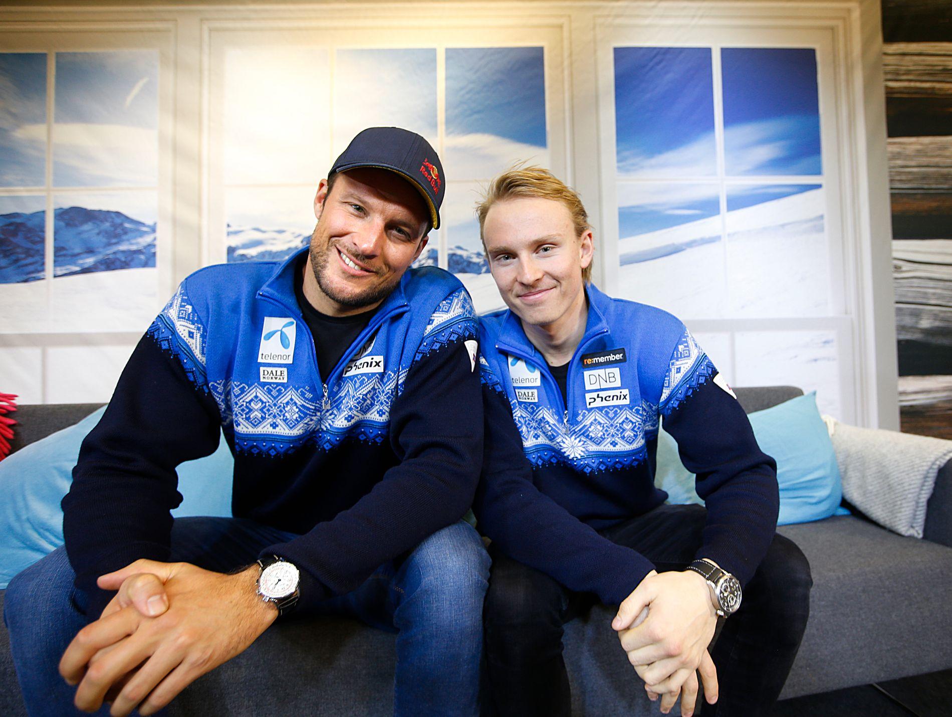 LAGKAMERATER: Aksel Lund Svindal og Henrik Kristoffersen avbildet på Norges Skiforbunds «kickoff» i 2015.