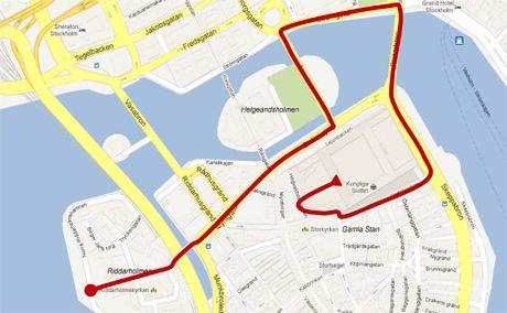 RUTEN: Dette er ruten som det nygifte paret skal kjøre etter bryllupet. Foto: Kungehuset.se