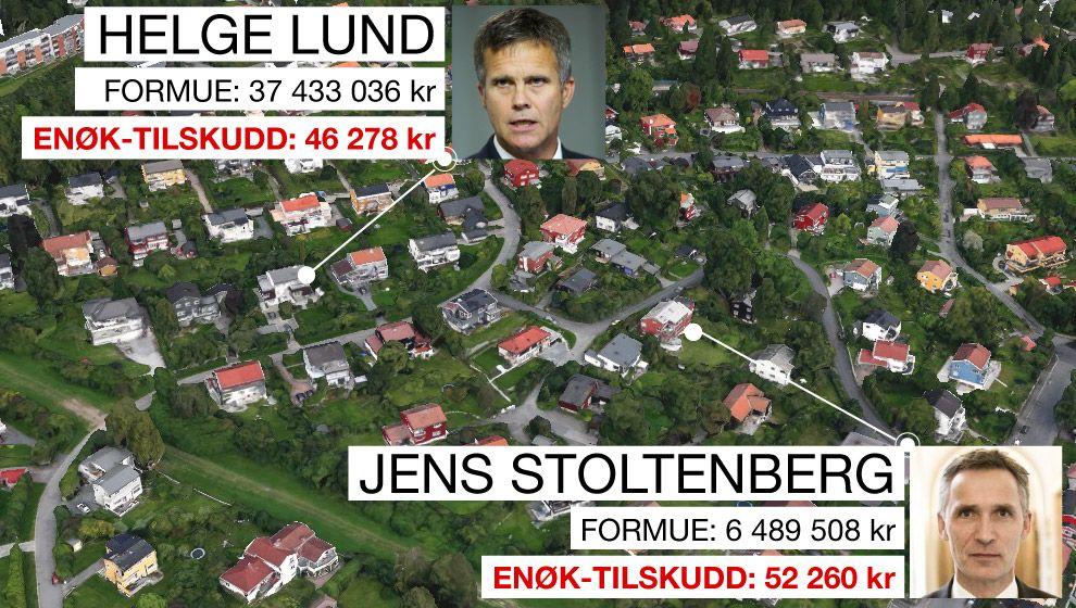 NABOER: I dette nabolaget på Nordberg i Oslo bor Natos generalsekretær, Jens Stoltenberg, og tidligere Statoil-sjef, Helge Lund. Stoltenberg var for siste ligningsår registrert som bosatt i Belgia, og Lund i Storbritannia.