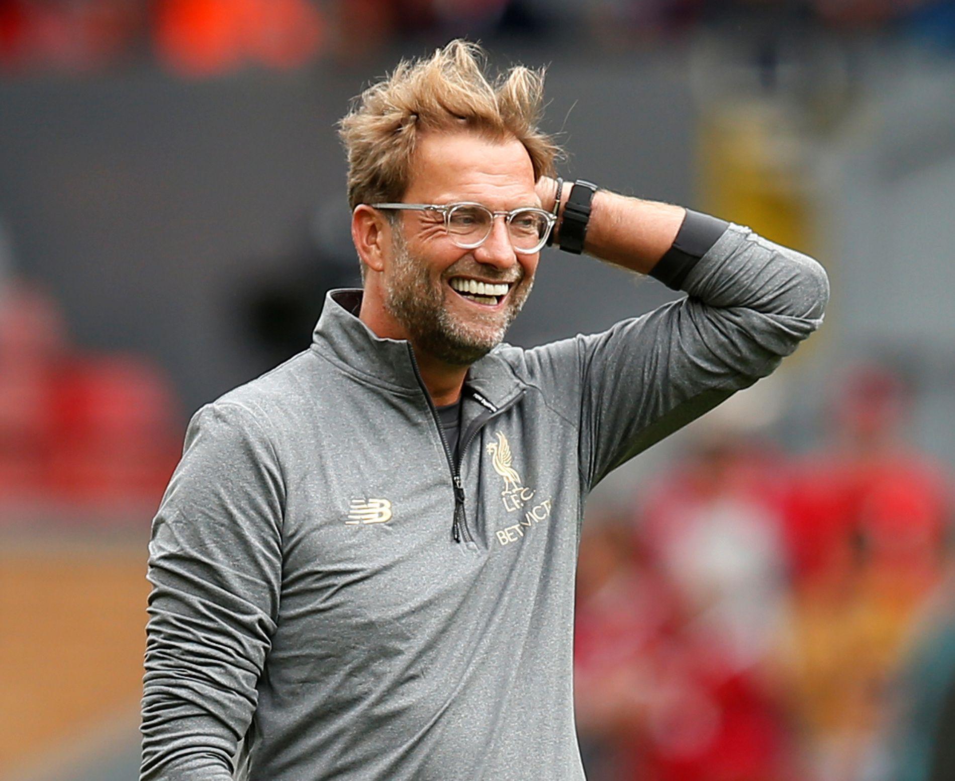FORNØYD: Jürgen Klopp smiler her før seieren over West Ham. Foreløpig har klubben full pott i Premier League.