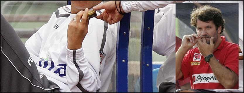 UTBREDT: Mange kjente fotballspillere lar seg intervjue med snus under leppa. Tidligere Sandefjord-trener Tor Thodesen er enig i at det er en uting og prøver å holde snusingen unna kameralinsene. Foto: Scanpix/VG