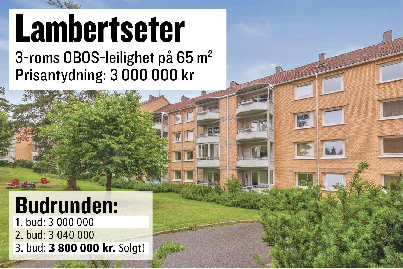 TRE BUDGIVERE: Etter bare tre bud ble denne leiligheten på Lambertseter i Oslo solgt for 3,8 millioner kroner. Da sistemann høynet med 760 000, ga de andre seg.