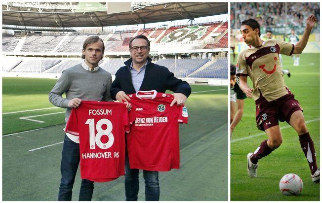 NY NORDMANN: Her poserer Iver Fossum med sin nye Hannover-drakt. Mohamed Abellaoue (t.h) spilte for samme klubb for noen år siden.