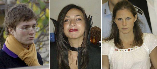 VAR VENNER: F.v.: Italienske Raffaele Sollecito, britiske Meredith Kercher og amerikanske Amanda Knox. Kercher ble funnet brutalt drept i sin egen seng i 2007.