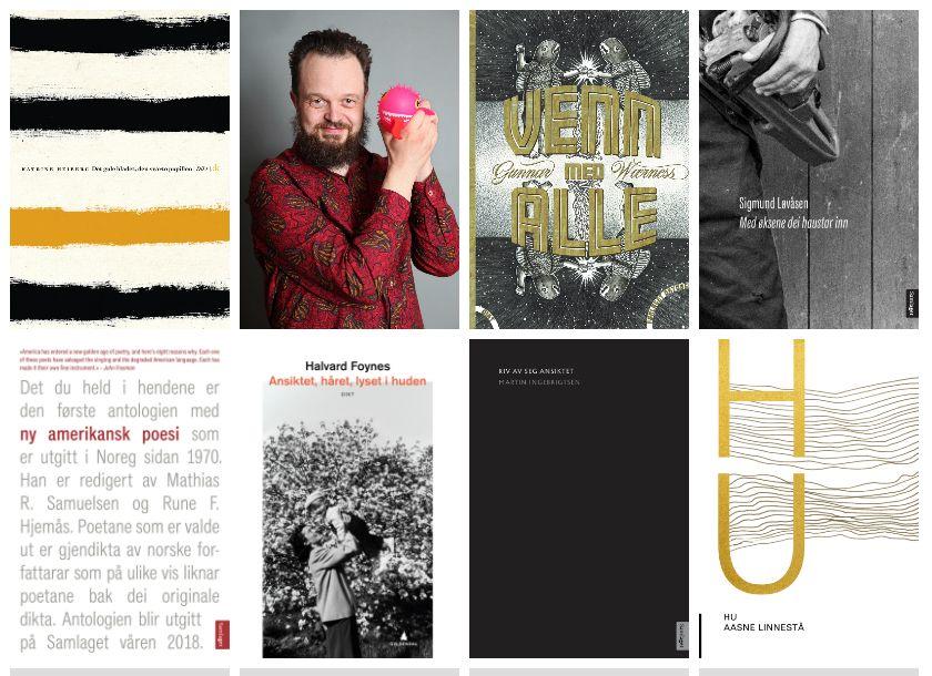 SYV DIKTBØKER OG ÉN POET: Her er de 7 beste diktbøkene i 2018, samt mannen i rød skjorte, Gunnar Wærness - som VGs anmelder mener har skrevet årets mest imponerende diktsamling, «Venn med alle».
