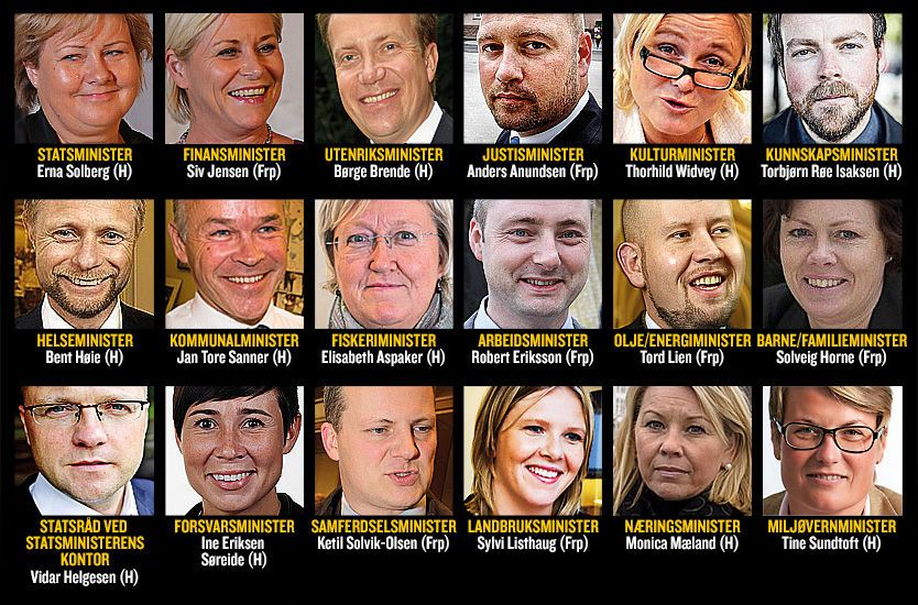 REGJERINGEN: Slik blir Regjeringen Solberg, dersom de siste dagers lekkasjer stemmer. Foto: Grafikk: Anders Bergan