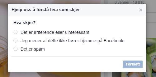 BER FOLK OM Å VARSLE: Facebook har et eget varslingssystem hvor brukerne kan rapportere innhold de mener er upassende.