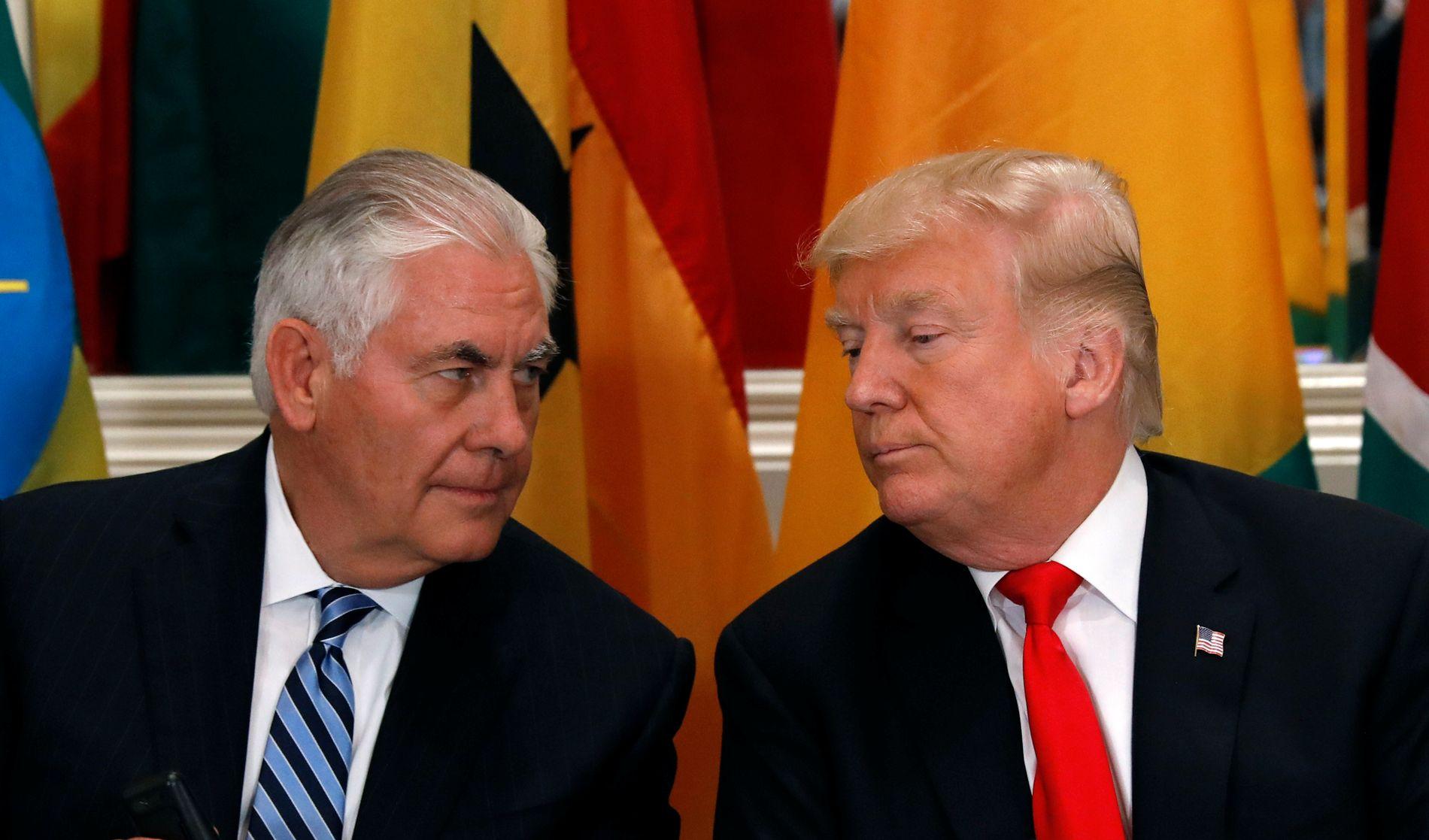 BEDRE VENNER NÅ? Tillerson skal ha vært svært misfornøyd med presidenten i sommer, og truet med å trekke seg som utenriksminister. Her fra et møte i FN den 20. september i år.