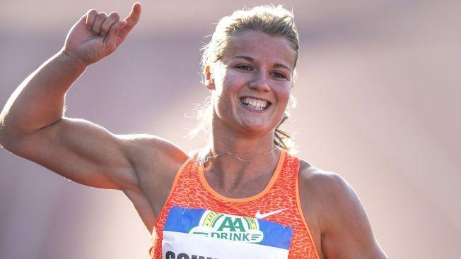 RASK: Nederlandske Dafne Schippers feirer her etter å ha løpt den sensasjonelle 100 meteren.