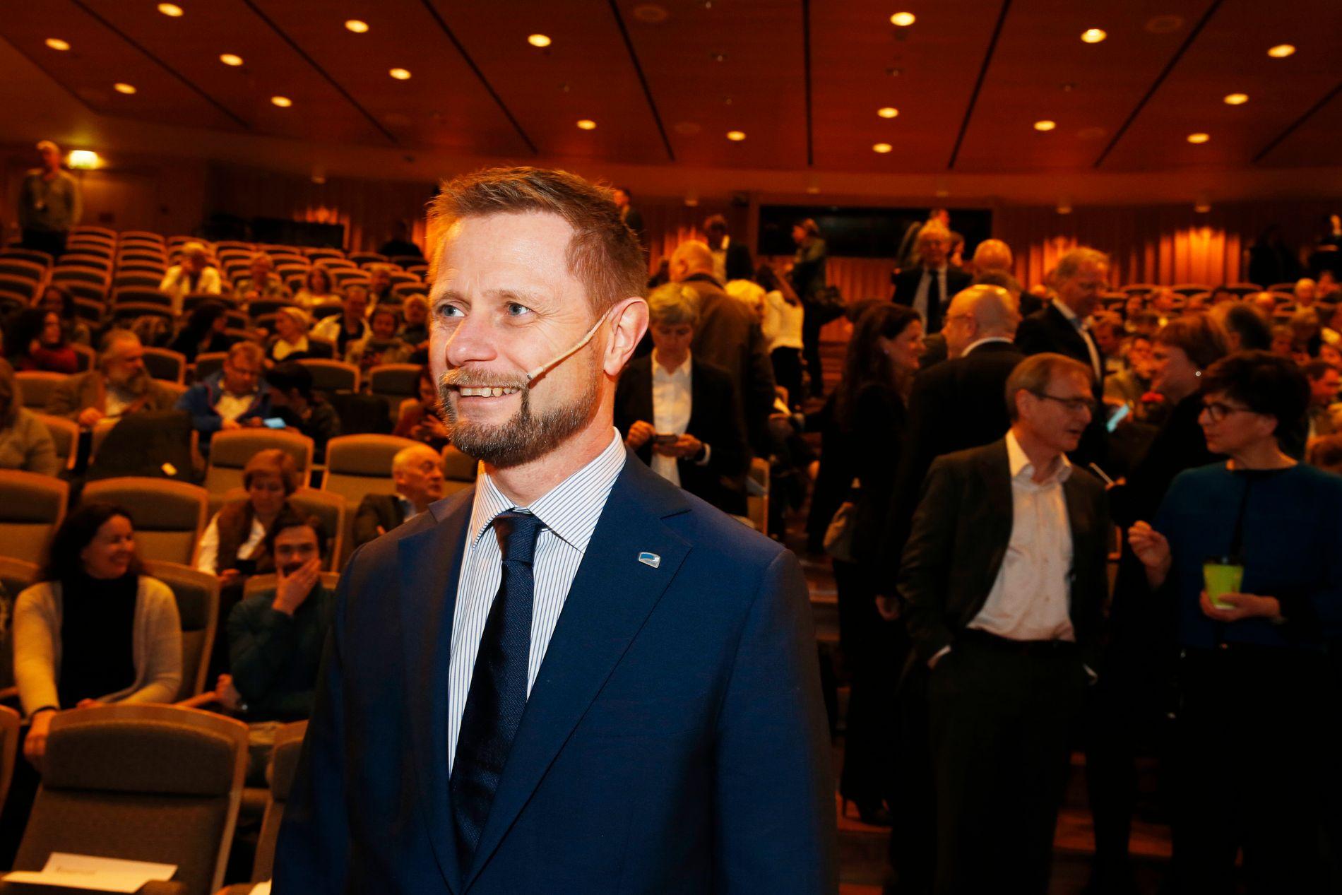 STATSRÅD: Bent Høie holdt tirsdag sin sykehustale i auditoriet ved Rikshospitalet.