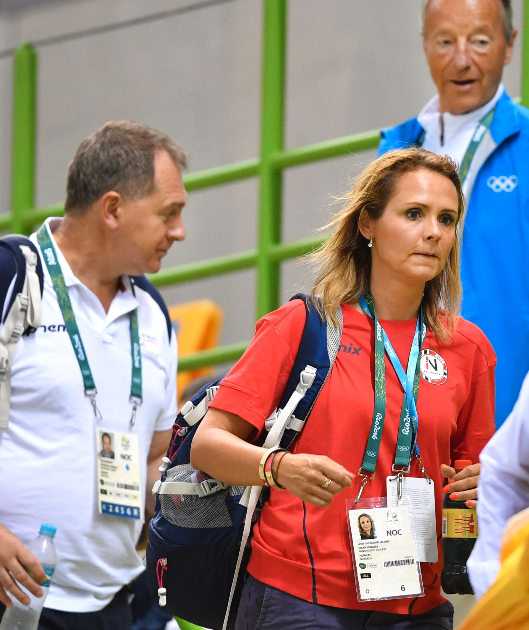 KULTURMINISTER: Linda Hofstad Helleland, her med NIF-topp Inge Andersen i Rio under OL.