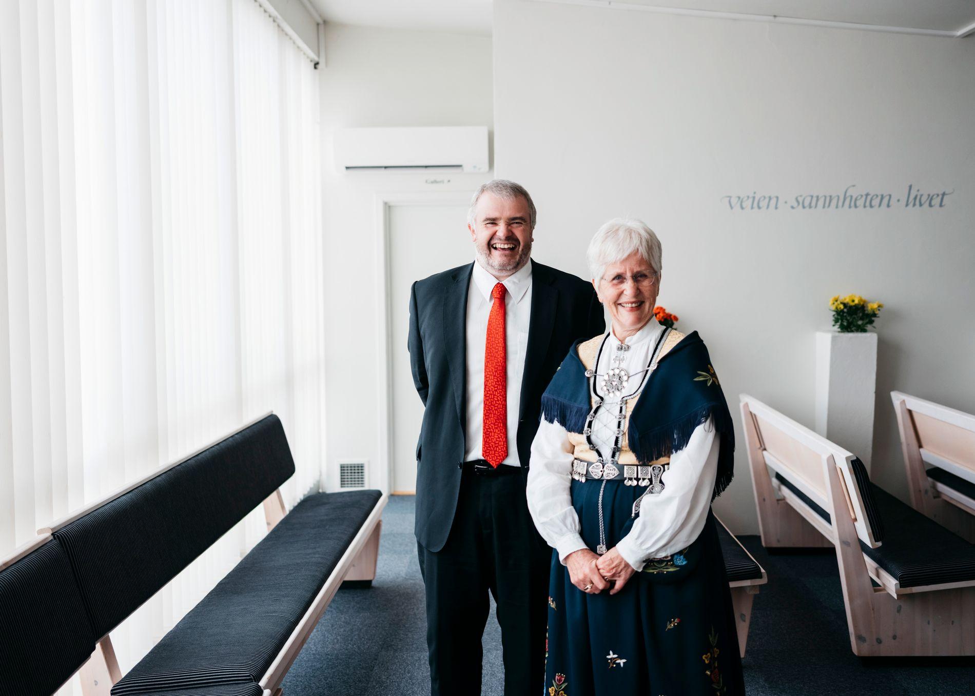 TROSFELLER: Magnar Meland og Margun Warem deler tro, men ikke parti. Meland er KrFs ordførerkandidat i kommunen, mens Warem ikke er med i partiet.