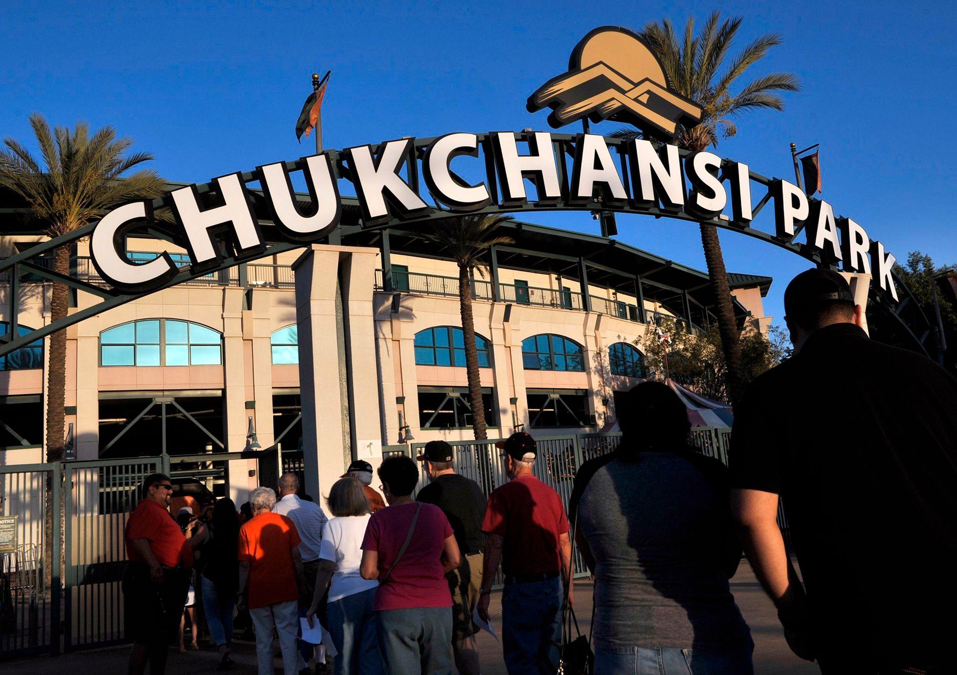 SKJEDDE HER: Spisekonkurransen ble holdt på baseballstadionet Chukchansi Park, under en kamp mellom hjemmelaget Frezno Grizzlies og Memphis Redbirds. Bildet er fra en tidligere kamp.