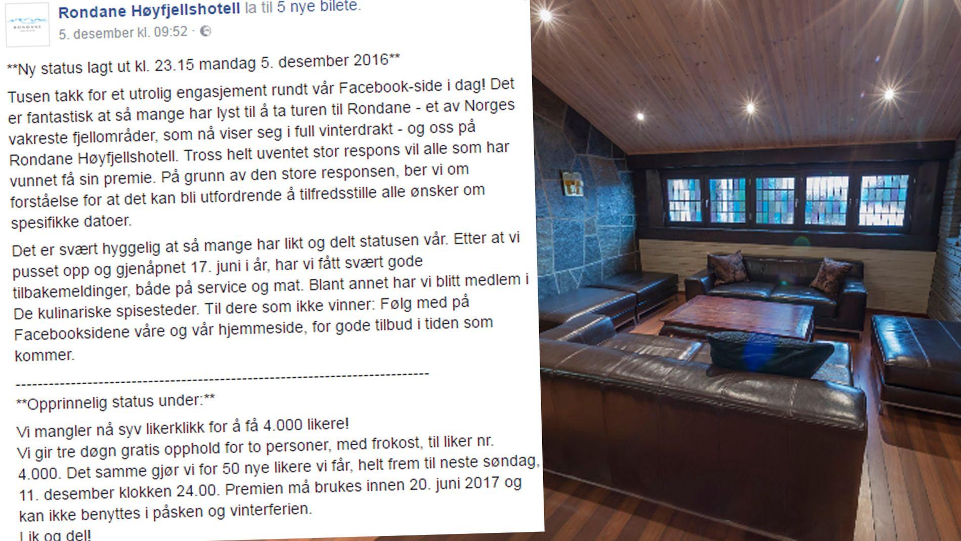 MASSIV RESPONS: Over 22.000 nye personer har likt Facebook-siden til hotellet etter de la ut denne posten.