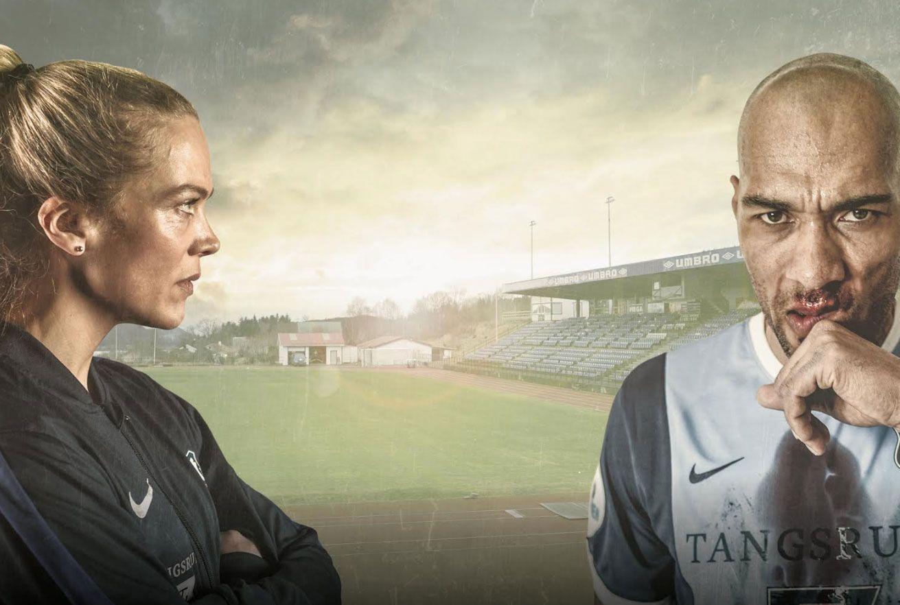 FOTBALLTRENER: Ane Dahl Torp spiller mot blant andre John Carew i «Hjemmebane».