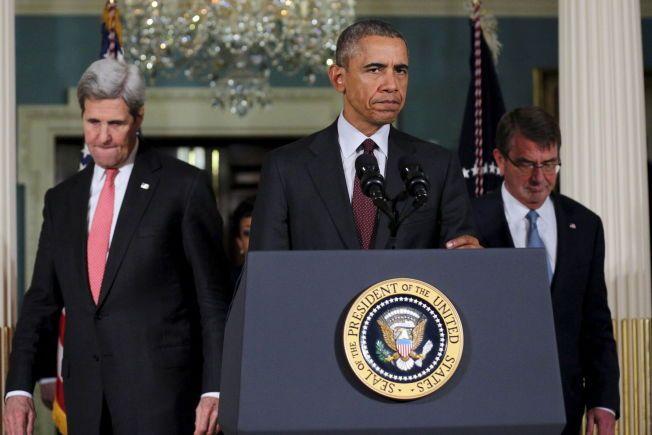 TALER i GENEVE: Under en tale torsdag kveld gjorde Obama det klart at IS kun kan knekkes dersom det blir slutt på borgerkrigen og kaoset i Syria, og lovte å «ødelegge denne barbariske terroristorganisasjonen».