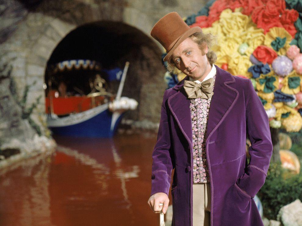 WILLY WONKA: Gene Wilder var den første som fikk spille i den lilla kåpen i «Charlie og sjokoladefabrikken» fra 1971.