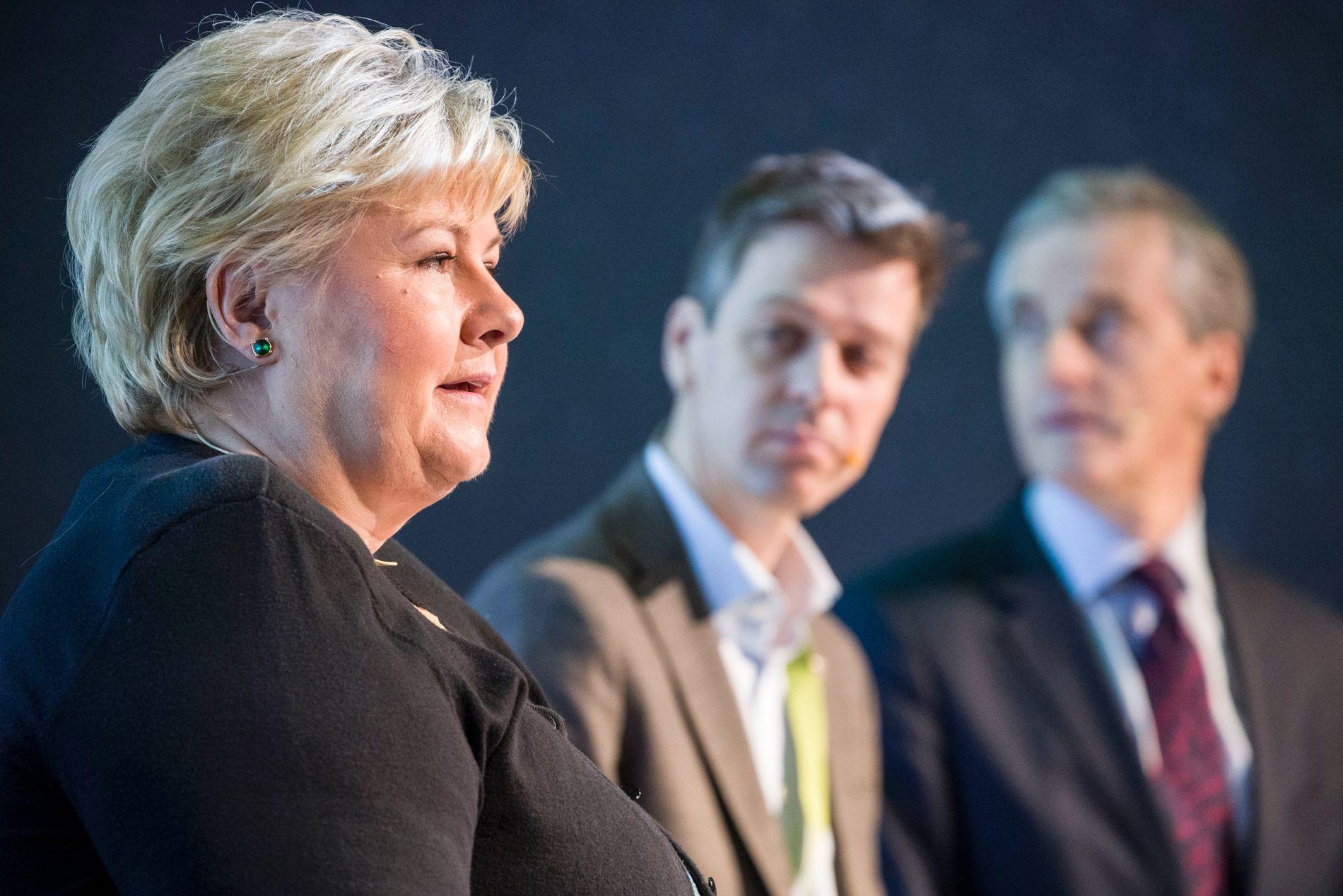 IKKE FJ'ERNA! Et flertall KrF-ere som har svart på VGs ferske undersøkelse vil ha Erna Solberg (H) som statsminister fremfor Jonas Gahr Støre (Ap).