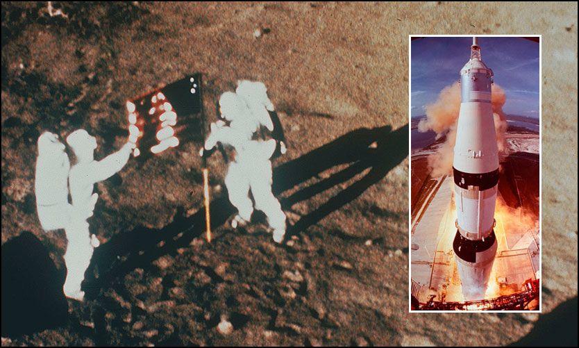 FLAGG: Neil Armstrong og «Buzz» Aldrin planter USAs flagg på måneoverflaten. Innfelt: Raketten Saturn V blir skutt ut i rommet 16. juli 1969 som frakteskip for Apollo 11. Foto: AKG Images/Scanpix