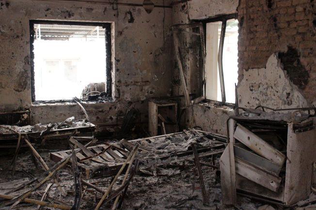 UTBRENT: På tidspunktet sykehuset i Kunduz ble bombet, var 105 pasienter innlagt til behandling. Her er et av sykehusrommene fotografert to uker etter angrepet.