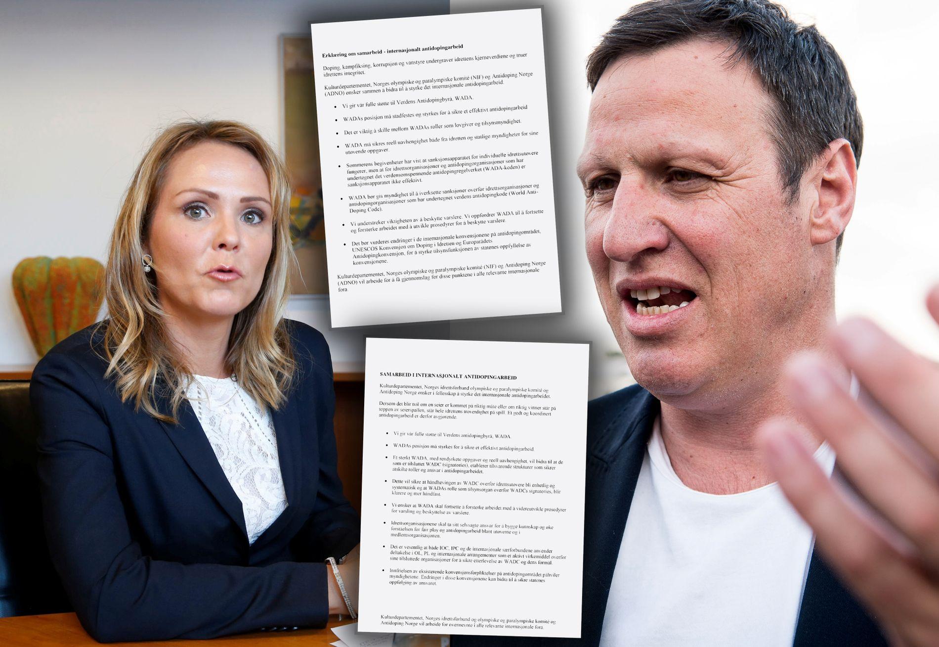 KALD KRIG: Kulturminister Linda Hofstad Helleland og idrettspresident Tom Tvedt er uenige etter dopingoppropet som har vært diskutert den siste måneden.
