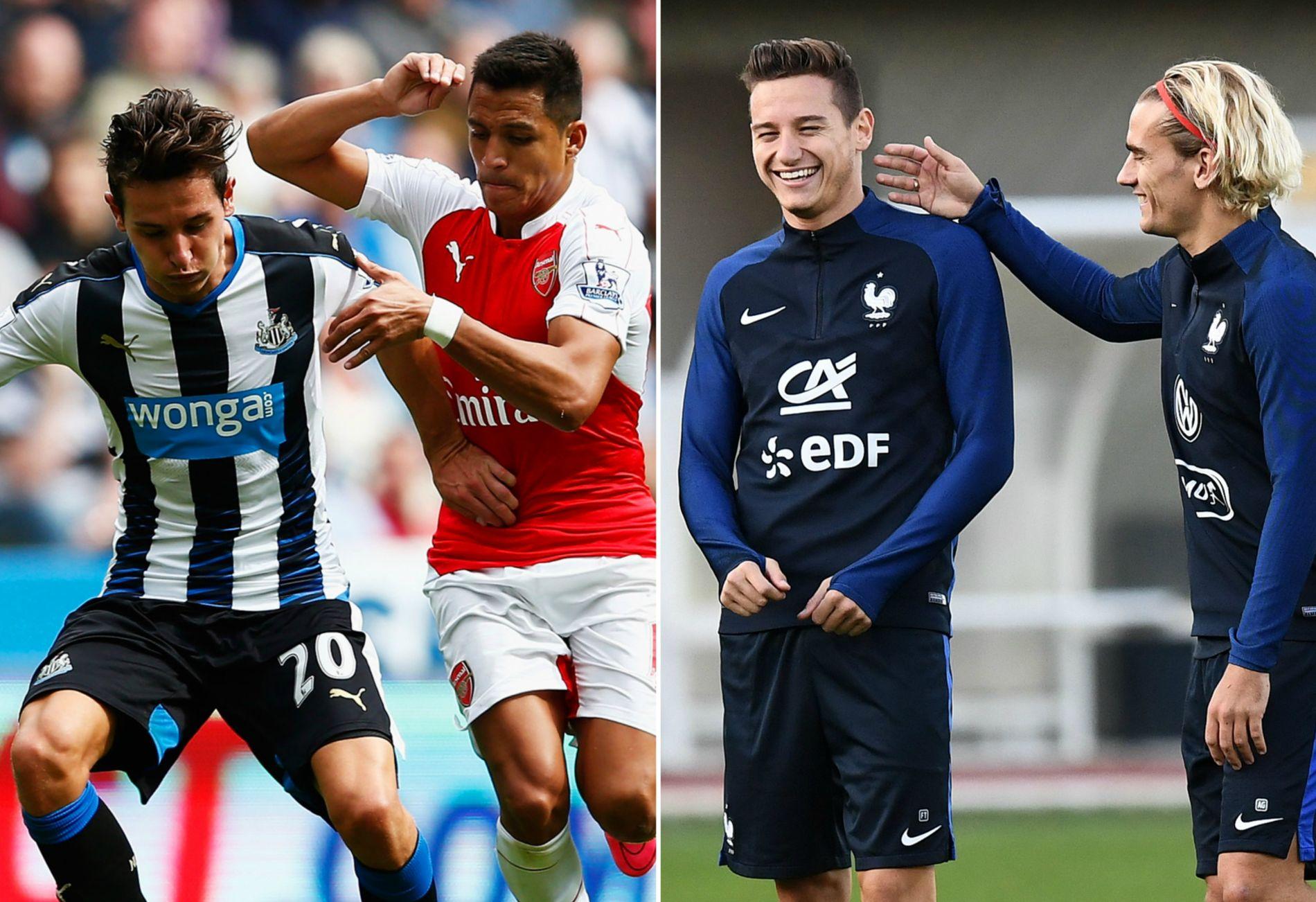 FRA NULL TIL GULL: Florian Thauvin, til venstre i duell mot Arsenals Alexis Sánchez i august 2015, har virkelig fått fart på karrieren etter at han dro tilbake fra Newcastle til Marseille. Til høyre står han på landslagssamling med Antoine Griezmann.