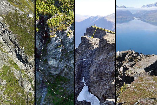 HØYRISIKO: Disse fire fjellene er under konstant overvåking, fordi de utgjør en høy risiko ved et eventuelt ras. Fra venstre «Åknes», «Hegguraksla», «Mannen» og «Nordnesfjellet». De tre første ligger i Møre og Romsdal, mens «Nordnesfjellet» ligger i Troms.