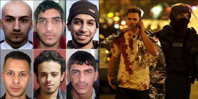 TERRORISTENE: Seks av de som var med å enten planlegge eller gjennomføre terroraksjonen mot Paris 13. november. Til høyre en av de mange hundre som ble skadet i angrepet.
